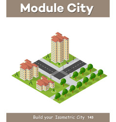 Isometric 3d landscape top view building of vector