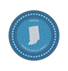 Label with map of indiana denim style vector
