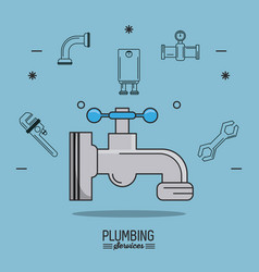 Light blue background poster plumbing services vector