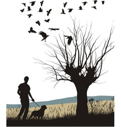 Man and dog in the country vector image vector image