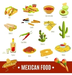 Mexican food icon set vector