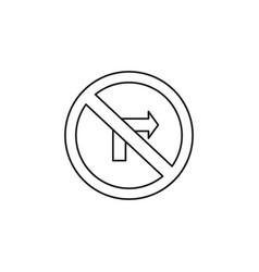 no turn right road icon vector image vector image