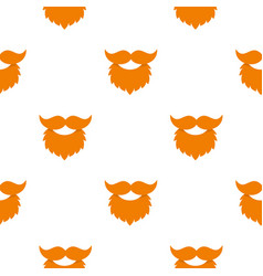 Red beard and mustache pattern seamless vector