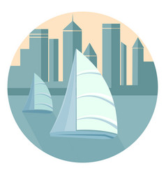 sailboats in the background of the city vector image vector image