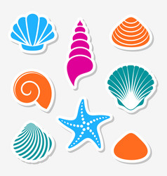 sea shells and starfish labels vector image vector image