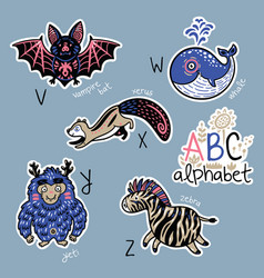 set of cute patch badges with animals alphabet v - vector image