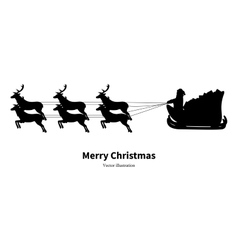 Silhouette of santa claus in sleigh vector