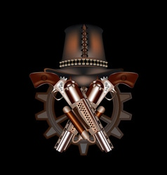 Two steampunk revolvers and hat vector