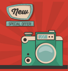 Vintage green camera special offer poster vector