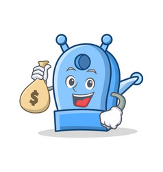 with money bag pencil sharpener character cartoon vector image vector image