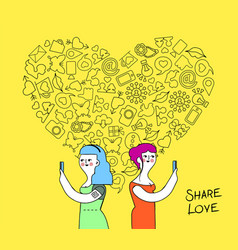 Women couple internet love concept vector