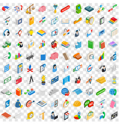 100 team building icons set isometric 3d style vector