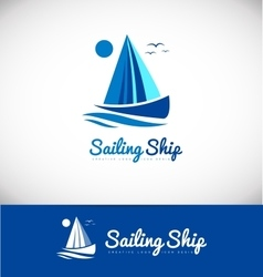 Sailing boat ship yacht yachting logo icon design vector
