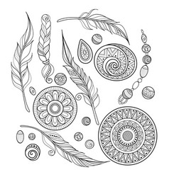 Monochrome set of tribal decorative objects vector