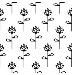 Stylized line flower seamless pattern vector