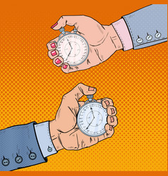 male and female hands holding stopwatch vector image