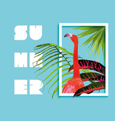 Summer paradise design of flamingo and palm tree vector