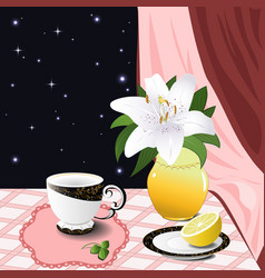 Still life with a lily and a lemon vector