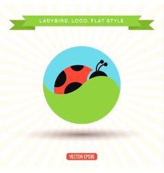 Ladybug logo grass sky icon vector