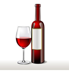 Bottle of red wine with a glas vector