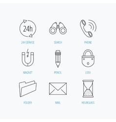 Phone call pencil and mail icons vector