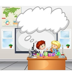 Children doing experiment in the classroom vector