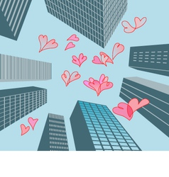 hearts and buildings vector image