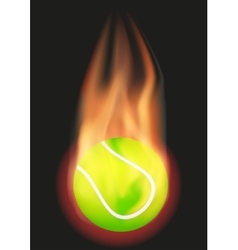 Tennis ball with flame vector