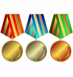 silvery gold and bronze medals vector image