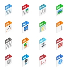 File types icons isometric 3d style vector