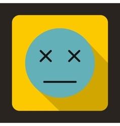 Dead emoticon icon flat style vector