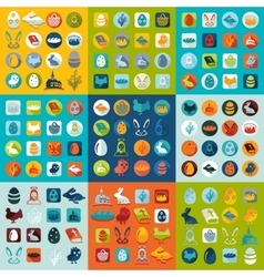 Set of easter icons vector