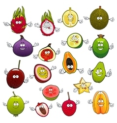 Tropical fruits with smiling and happy faces vector