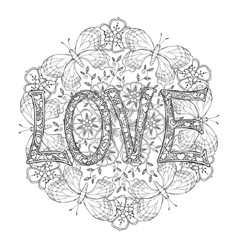 Hand drawn monochrome letters love text and vector