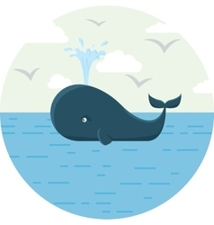 Blue whale with sea round vector image