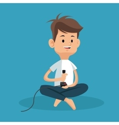 Boy sitting with joystick game vector