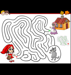 cartoon maze activity with little red riding hood vector image