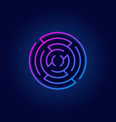 Colorful round maze line icon vector
