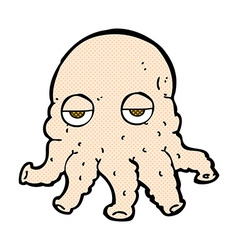 Comic cartoon alien squid face vector