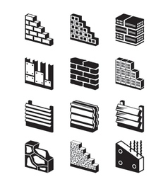 Construction materials for walls vector image vector image