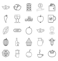 Continental breakfast icons set outline style vector