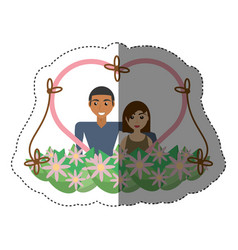 Couple love heart flowers decoration shadow vector