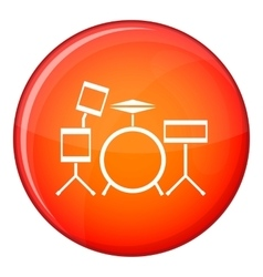 Drum kit icon flat style vector