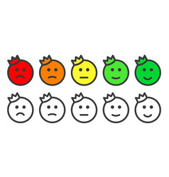 Emoji prince icons for rate of satisfaction level vector