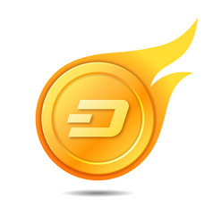 Flaming dash coin symbol icon sign emblem vector