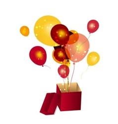 Gift box with baloons vector