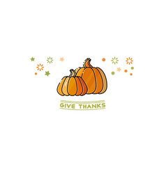 give thanks card cartoon pumpkins isolated on vector image vector image