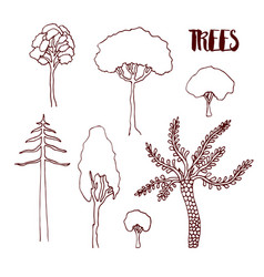 Hand sketch trees set hand drawn isolated vector