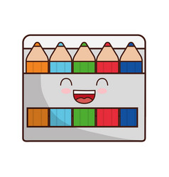 Kawaii colors box icon vector