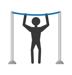 Man workout bar gym arms silhouette vector